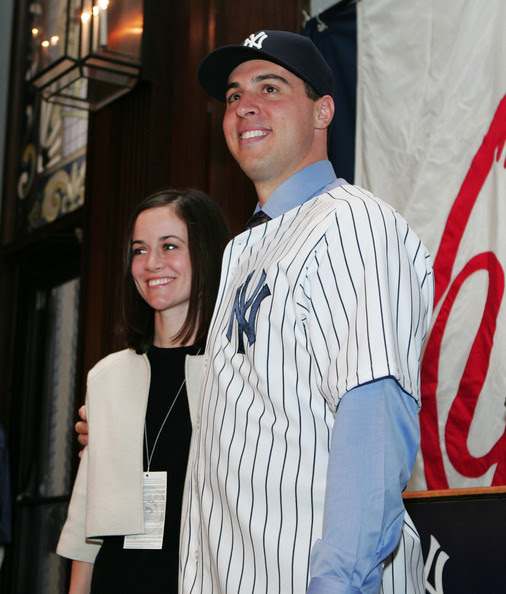 Mark Teixeira and his wife Leigh pose for a photo during his signing to the New York Yankees at Yankee Stadium on January 6, 2009 in the Bronx borough of New York City.  (Photo by Mike Stobe/Getty Images) *** Local Caption *** Leigh Teixeira;Mark Teixeira