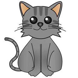 子猫イラストグレーフリー素材a10
