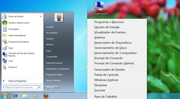 "Comparando com o do Windows 7, menu ""Iniciar"" do windows 8 é incompleto (Foto: reprodução/Edivaldo Brito)"