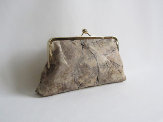 Neutral and Cream Tone Oversized Leaf Print Clutch with Detachable Chain