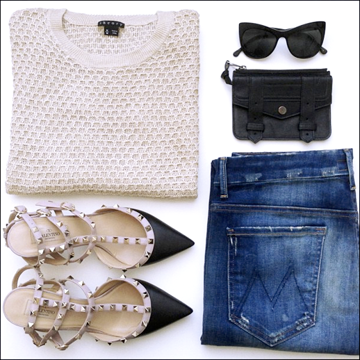 LE FASHION BLOG INSTAGRAM OUTFIT TAN THEORY HONEYCOMB SWEATER KNIT  ELIZABETH AND JAMESLAFAYETTECAT EYE SUNGLASSES BLACK PROENZA SCHOULER ZIP CASE WALLET VALENTINO ROCKSTUD KITTEN HEELS NUDE AND BLACK MOTHER DENIM DISTERESSED DENIM DAILY OUTFITS 1 photo LEFASHIONBLOGINSTAGRAMOUTFITTHEORYSWEATERVALENTINOHEELS1.png