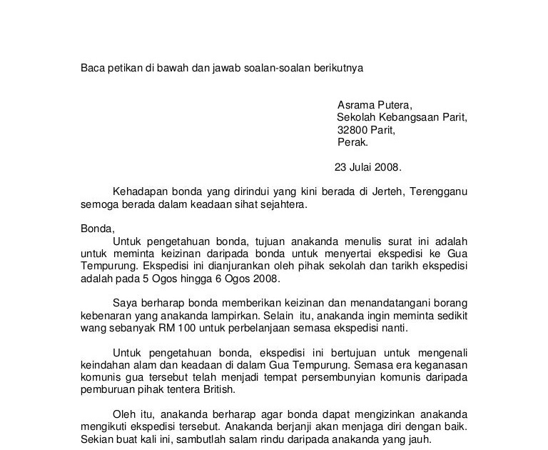 Contoh Karangan Surat Kiriman Rasmi Spm 350 Patah Perkataan Sukoharjo Aa