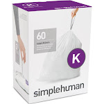 simplehuman 35-45L 60ct Code K Custom Fit Trash Can Liner White
