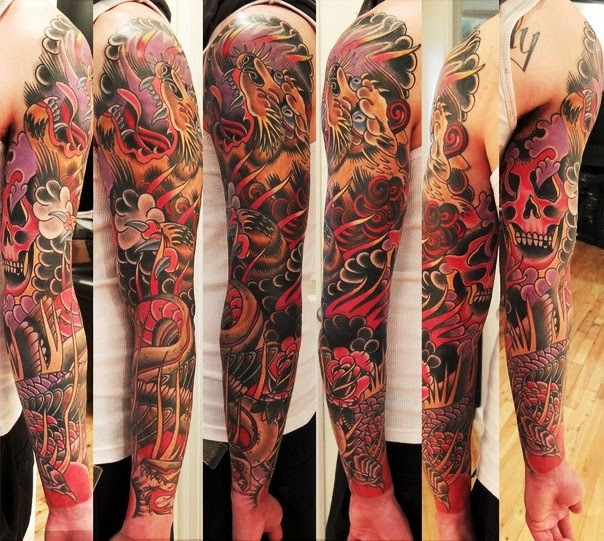 Skull And Tiger Red And Black Tattoo Sleeve Best Tattoo Ideas Gallery