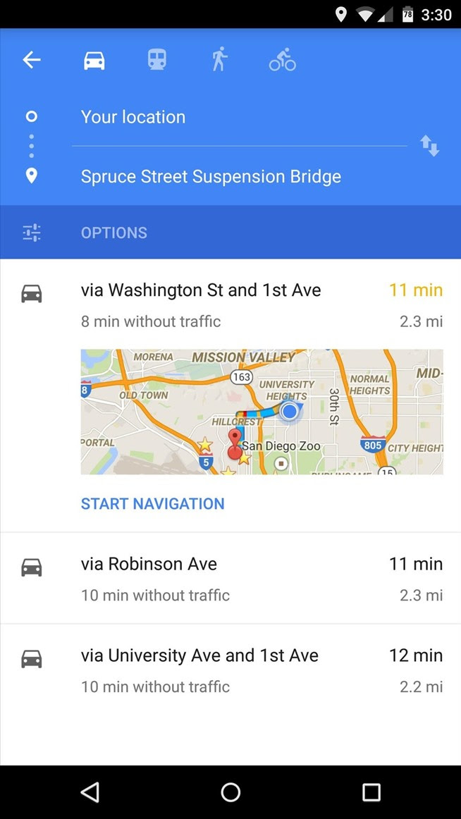 how to receive directions google maps to phone