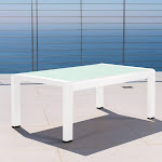 Christopher Knight Home Cape Coral Outdoor Aluminum Tempered Glass Rectangle Coffee Table by White