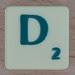 Scrabble green letter D