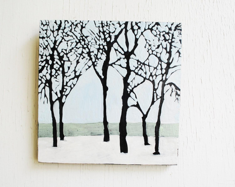 Winter Trees Landscape Painting.  6x6 Original Art.  Nature Symbols.  Home Decor.  Neutral.  Bare Branches.  Pale Blue.  Snow. - SorchaMoon