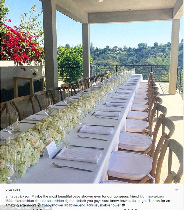 Nice view: Stylist Anita Patrickson thanked Kim for hosting 'the most beautiful baby shower ever'