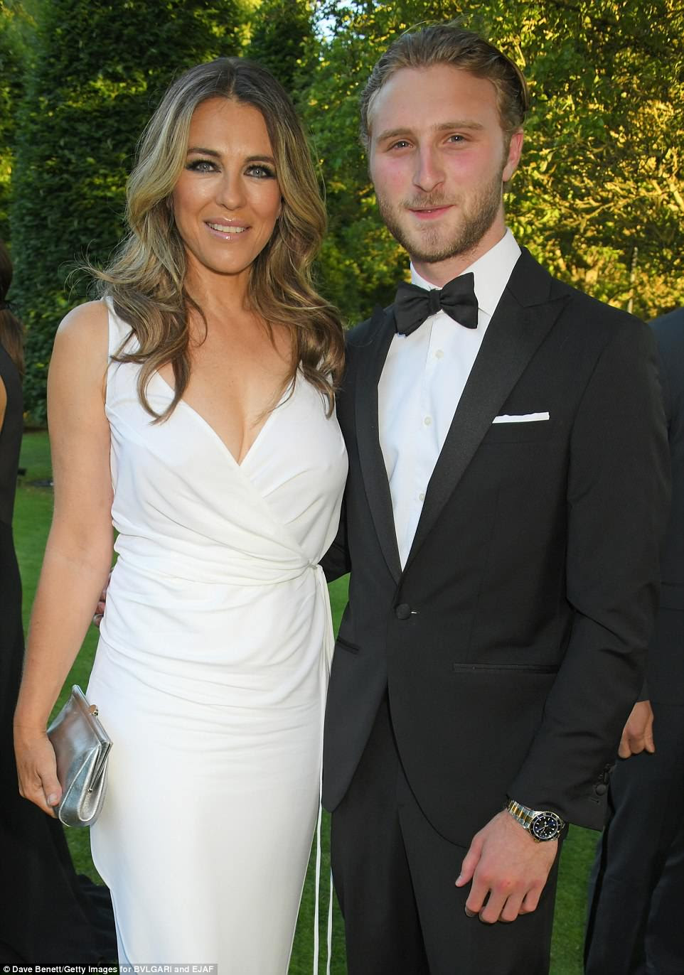Camera ready: Elizabeth (L) and Manouk Manoukian posed for photos at the event