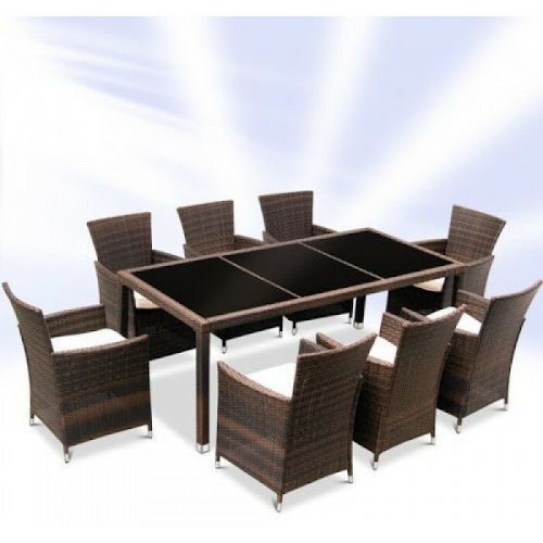 Details about  RATTAN GARDEN FURNITURE DINING TABLE AND 8 CHAIRS DINING SET OUTDOOR PATIO