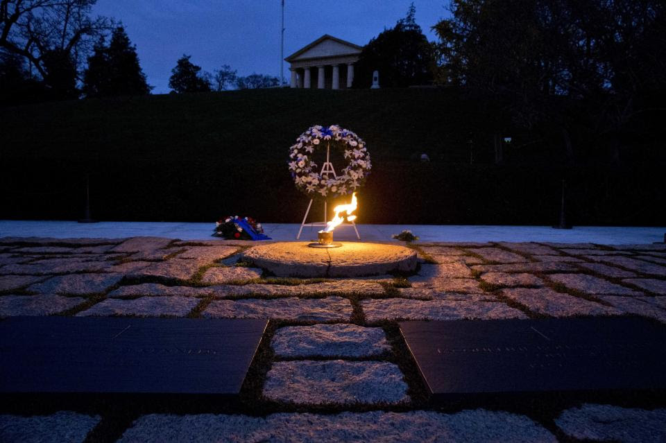 eternal flame viewed at night