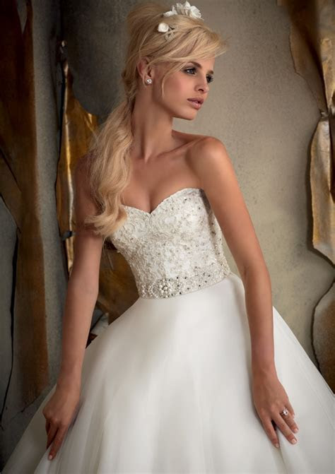 Morilee Bridal Beaded Alencon Lace on Tulle Wedding Dress