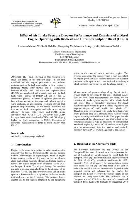 (PDF) Effect of Air Intake Pressure Drop on Performance