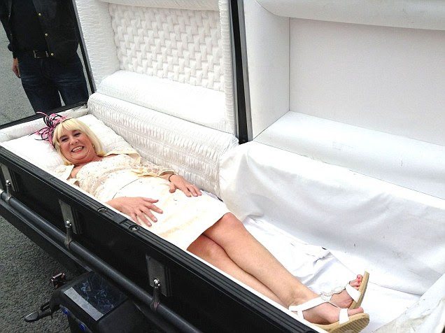 Bride turns up at her own wedding in a COFFIN