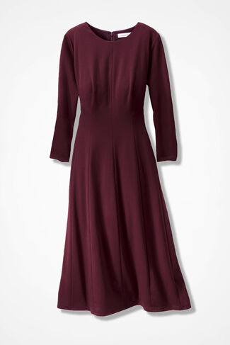 Effortless Fit-n-Flare Dress, Wine, large