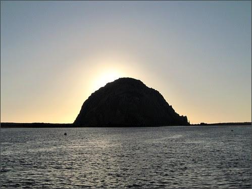 Sun setting behind Morro Rock