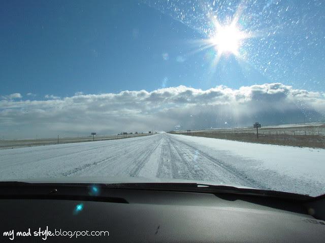 Snowy Roads in Wyoming