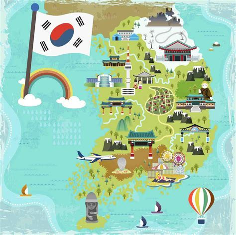 Hand Drawn Vector Tourist Attractions In South Korea South