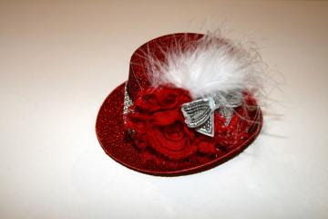 Red Glitter Top Hat Fascinator with Red Shabby Chic Roses and Rhinestone Ribbon