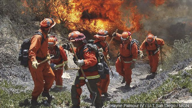 Inmates from Oak Glen Fire Camp in Riverside retreat to higher ground May 14, 2014 as they work to control the fire near Oriole Court in Carlsbad.  Photo: MGN Online