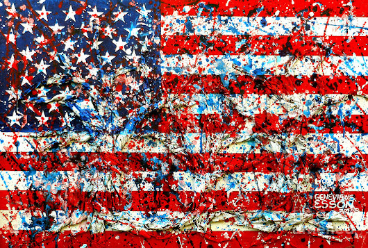 American Flag Abstract With Trees by Genevieve Esson