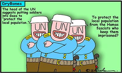 Dry Bones cartoon, Gaza, Hamas, Israel,UN, United Nations,Palestinian Arabs,