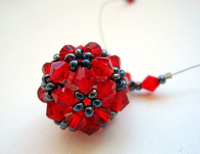 Red Swarovski Crystal Ball Pendant Necklace
