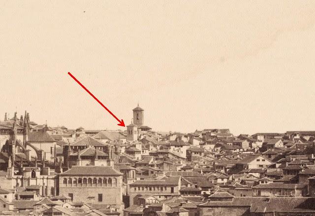 Torre olvidada de Santa Justa y Rufina. Detalle de una fotografía de 1857 tomada desde el Valle por Charles Clifford