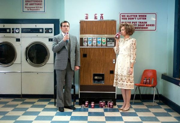 Brick Tamland (Steve Carell) and Chani Lastnamé (Kristen Wiig) share a moment in ANCHORMAN 2: THE LEGEND CONTINUES.