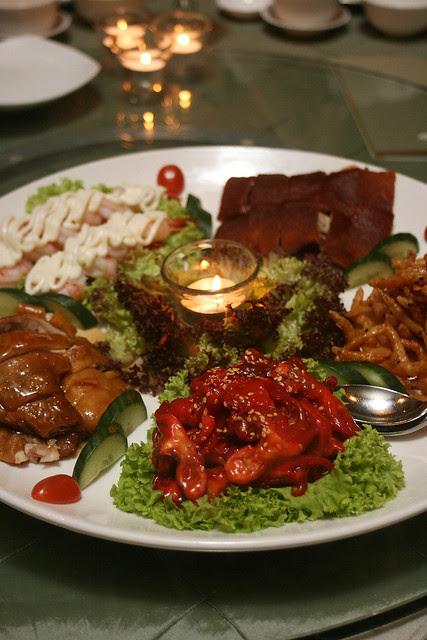Mandarin Oriental Combination Platter - suckling pig, silver bait, baby octopus, soya chicken, prawn salad