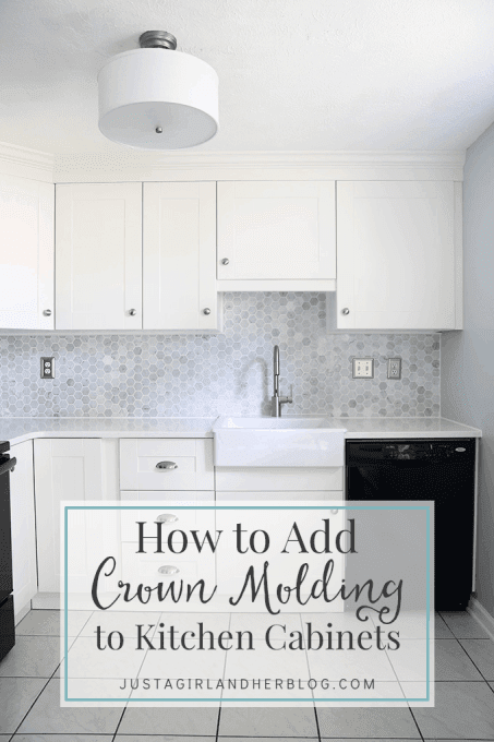 How to Add Crown Molding to Kitchen Cabinets - Just a Girl ...