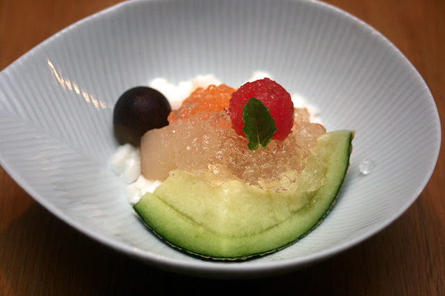 Dessert: Pear compote jelly with fresh fruits