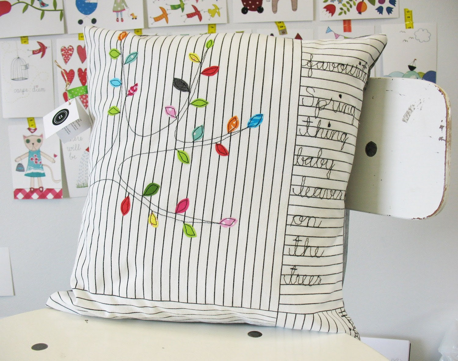 Favourite Spring thing - baby leaves - appliquéd cushion cover