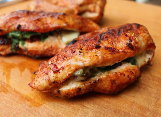 Grilled Chicken Breast Stuffed with Spinach, Cheese and Sundried Tomatoes