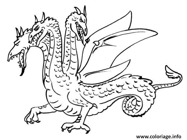 Coloriage Dragon Avec Trois Tetes Jecoloriecom