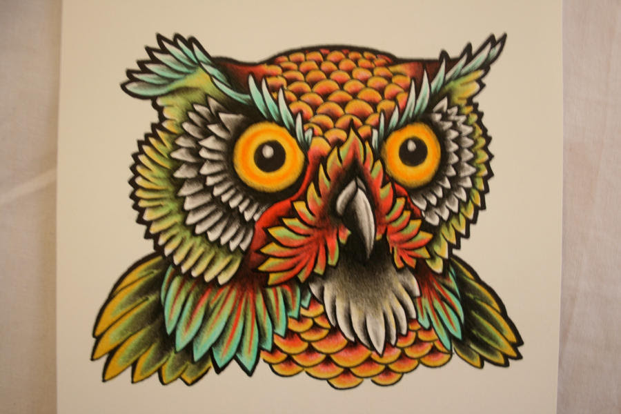 Owl Head Tattoo Design by itchysack on DeviantArt