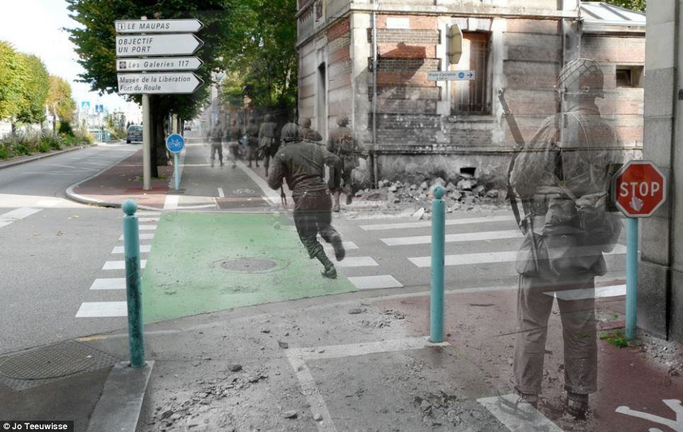 Dangerous crossing: Soldiers race up Avenue de Paris in Cherbourg in 1944, speeding past the rubble and over modern-day road markings