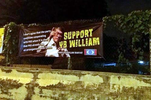 Sepanduk sokong William anti rundingan PKR - Pas dinaikkan