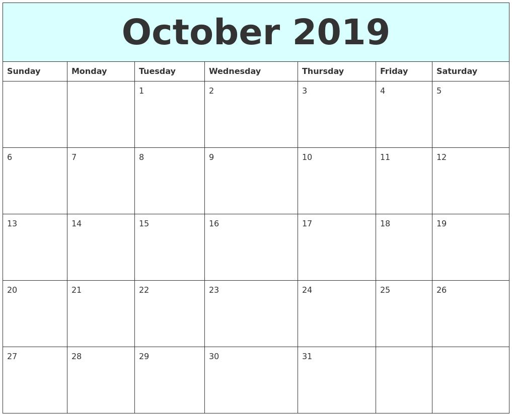 october 2019 free calendar full weekday