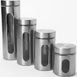 Anchor Hocking - Palladian Cylinder Jars Set with Window (4-Pack) - Silver