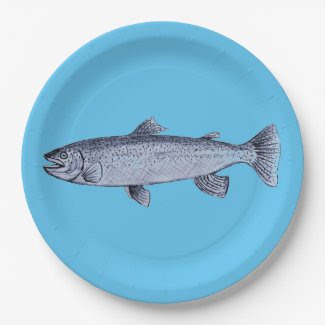 Trout Art on Paper Plates