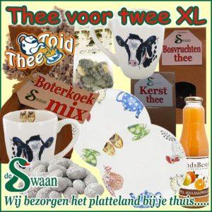 Kerstpakket vrouwen Thee voor twee xl - streekpakket gevuld met diverse soorten thee en boeren streekproducten - www.kerstpakkettencadeaubon.nl