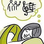 Illustration of a woman dreaming about music and people.