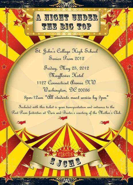 vintage circus invitations   paper   ink design