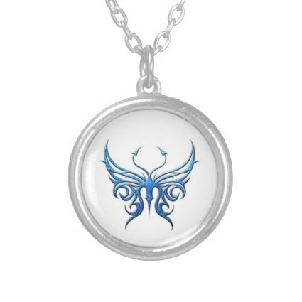 Ice blue butterfly necklace!