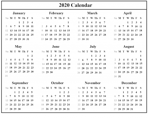 Template Excel Yearly Calendar 2020 Printable