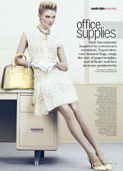 MARIE CLAIRE OFFICE SUPPLIES EDITORIAL LADY LIKE FIFTIES SIXTIES INSPIRED LACE EMBROIDERED GINGHAM PRINT HEELS JEWELS RINGS SKIRTS WATCHED PASTELS WHITE NAILS MANICURE PRADA STUDS GLOVES 2