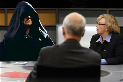 Sith Lord Harper, Elizabeth May and Jack Layton on Thursday's English language Canadian leadership debate.