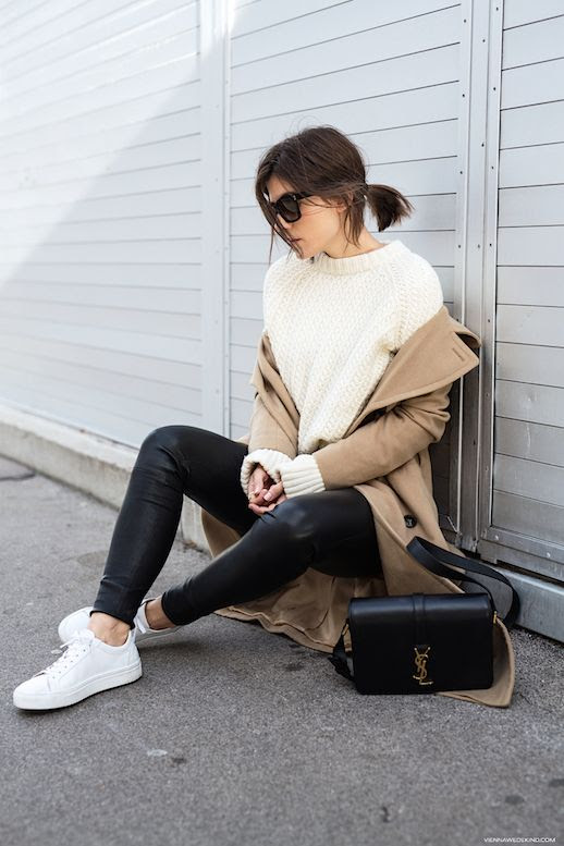 Le fashion Blog Cableknit Sweater Camel Colored Coat Leather Pants White Sneakers Via Vienna Wedekind